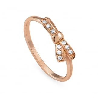 Rose Gold Stone Set My Cherie Bow Ring Size M