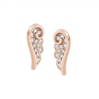 Rose Gold Stone Set Single Wing Earring Studs 145323/011