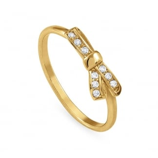 Yellow Gold Stone Set My Cherie Bow Ring Size O