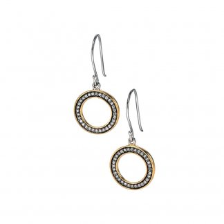 Open Disc Earrings with Gold Plated Detail & Clear CZ