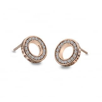 Open Halo Saturno Rose Gold Earrings