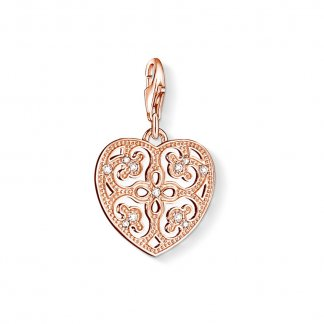Openwork Heart Rose Gold Charm 0984-416-14