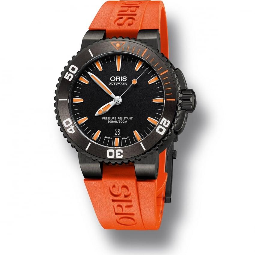 Oris men 39 s aquis date orange rubber automatic diver 39 s watch watches from francis gaye - Orange dive watch ...
