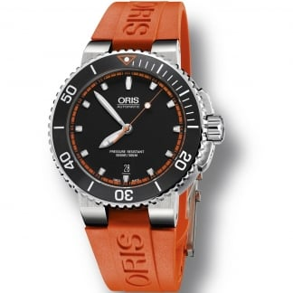 Men's Aquis Date Orange Silicone Automatic Watch