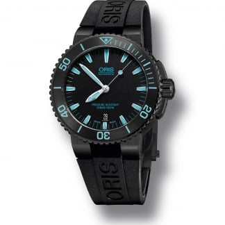 Men's Aquis Date Rubber Diver's Watch With Blue Batons 01 733 7653 4725-07 4 26 34BEB