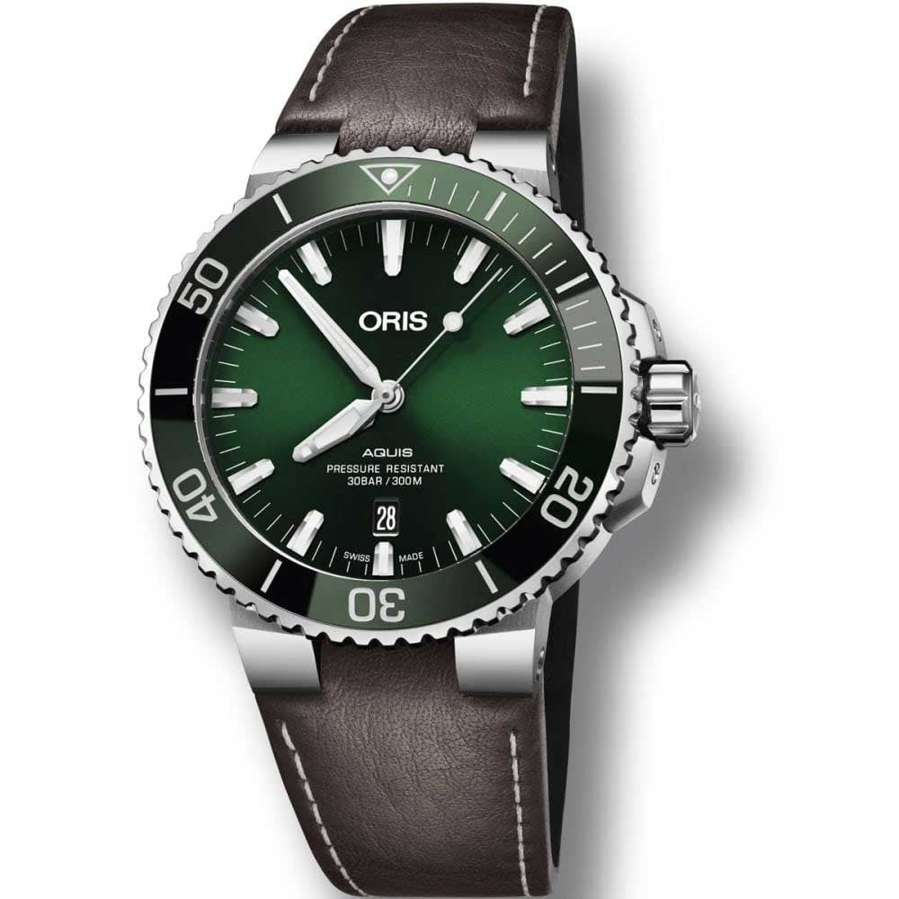 80bd29298be ORIS Men s Aquis Green Dial Automatic Brown Leather Watch - Watches ...