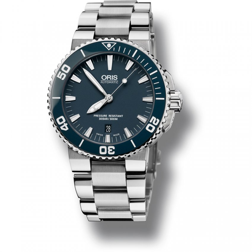 ORIS Men's Automatic 30ATM Aquis Divers Watch with Ceramic Bezel 01 733 7653 4155-07 8 26 01PEB