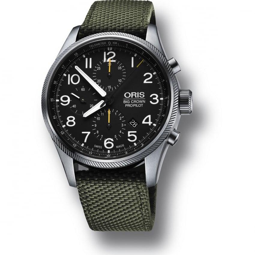 ORIS Men's Big Crown ProPilot Green Canvas Chronograph Watch 01 774 7699 4134 07 5 22 14FC
