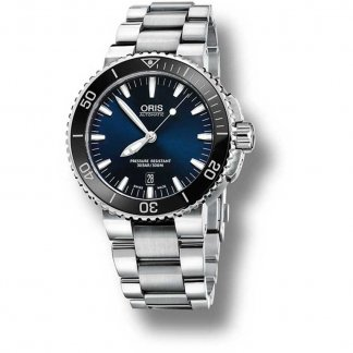 Men's Blue Dial Aquis Date 300M Diver's Watch 01 733 7653 4135-07 8 26 01PEB