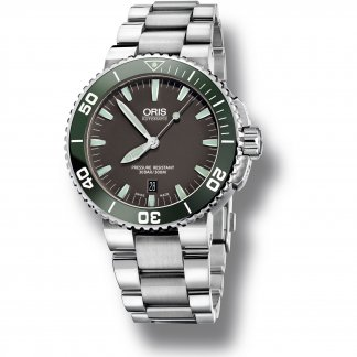 Men's Date Display 300m Green Ceramic Bezel Aquis Watch 01 733 7653 4137-07 8 26 01PEB
