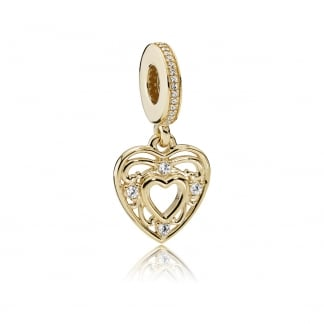 14ct Gold Romantic Heart Dangly Charm