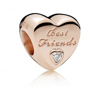 Best Friends Rose Heart Charm