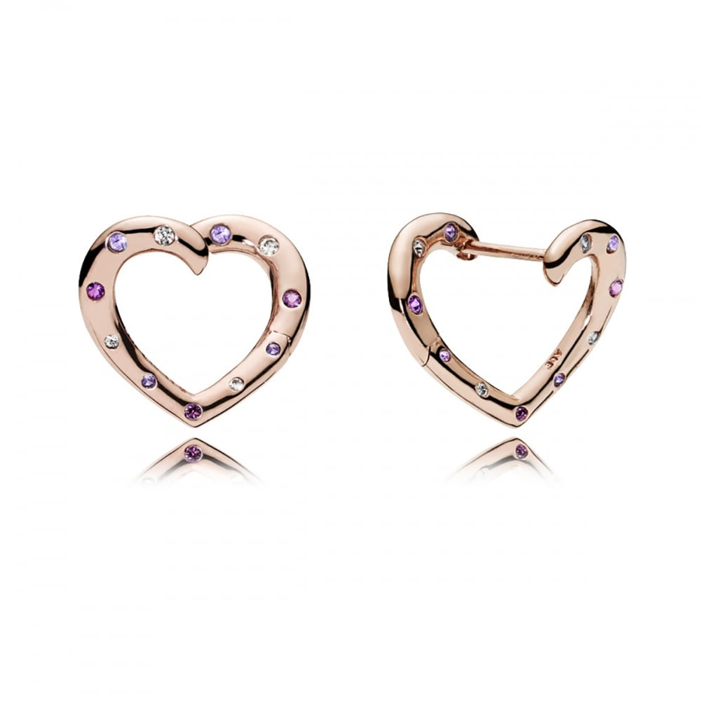 Pandora Hoop Earrings: Pandora Rose Gold Bright Hearts Hoop Earrings
