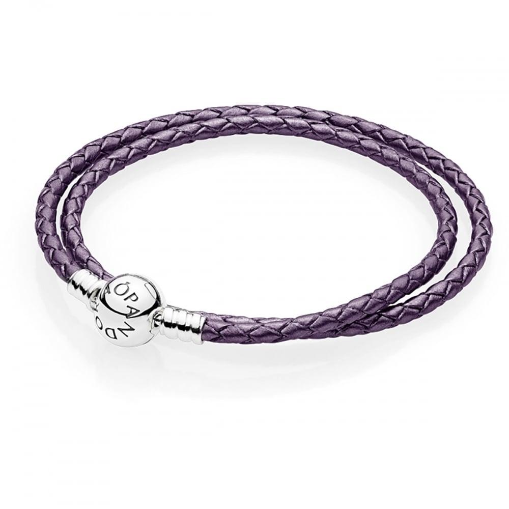 Pandora Double Round Clasp Purple Leather Bracelet Jewellery From Francis Gaye Jewellers Uk
