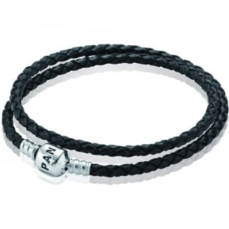 Double Woven Black Leather Bracelet
