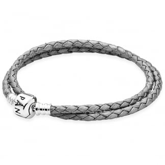 Double Woven Grey Leather Bracelet