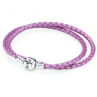 Double Woven Pink Leather Bracelet
