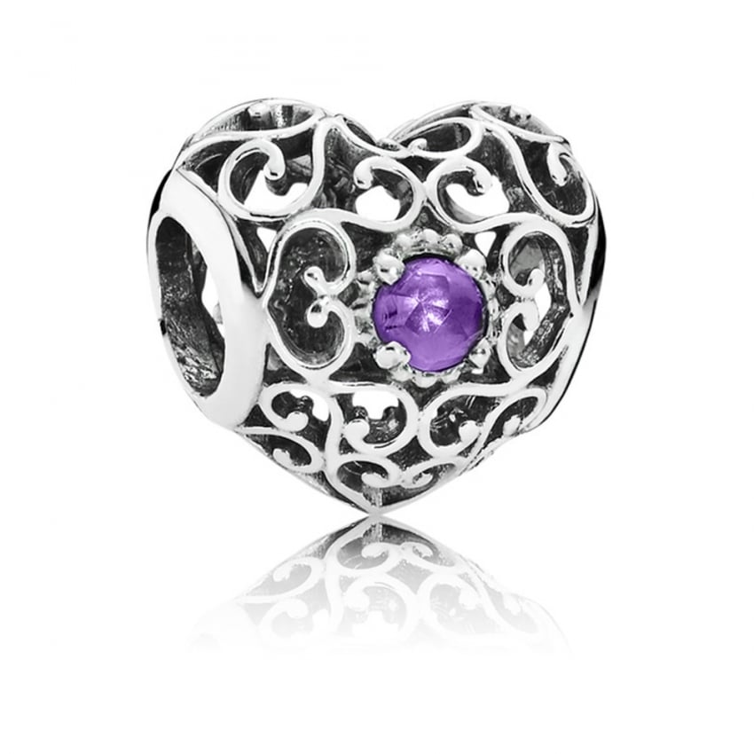 PANDORA February Birthstone Heart Charm 791784SAM