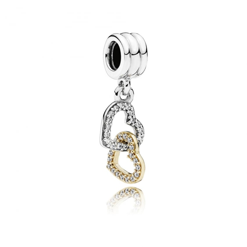 PANDORA Interlocked Hearts Dangly Charm 792068CZ