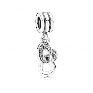 Interlocking Heart Dangly Charm