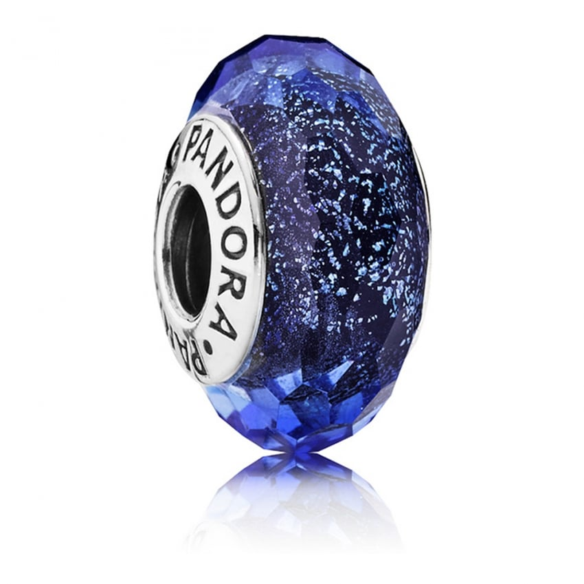 PANDORA Iridescent Blue Facted Murano Glass Charm 791646