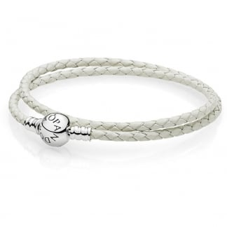 Ivory White Double Woven Leather Bracelet