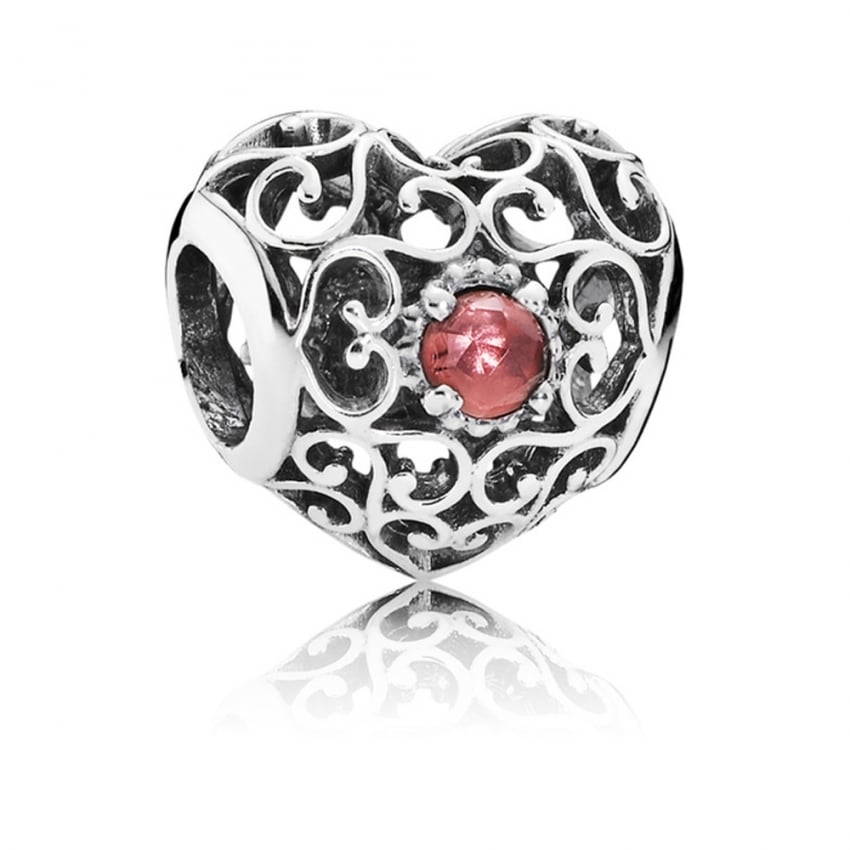 PANDORA January Birthstone Heart Charm 791784GR