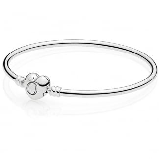 Logo Heart Clasp Silver Bangle
