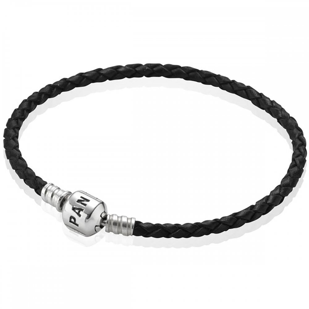 6ccf94571 Pandora Moments Black Single Leather Bracelet Product Code: 590705CBK-S