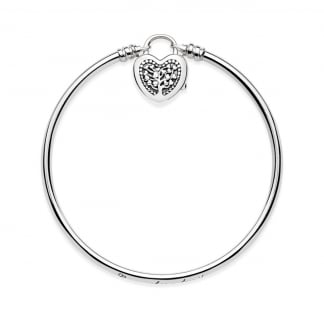 Moments Silver Bangle, Flourishing Heart Padlock