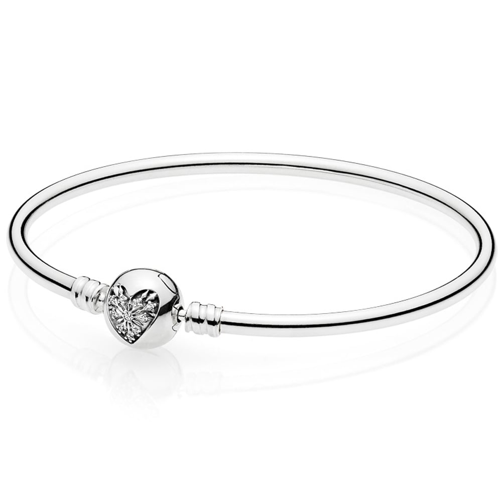 PANDORA Moments Silver Bangle Heart Of Winter Clasp Jewellery - Cool invoice template free pandora store online