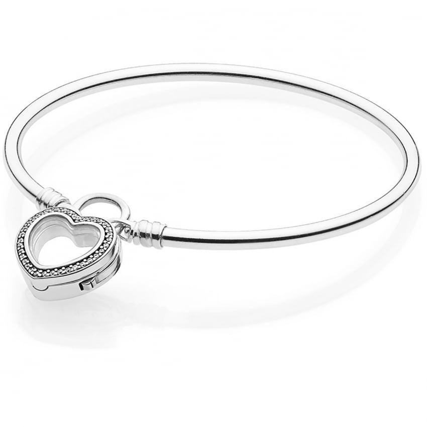 9c77251ee Pandora Moments Silver Bangle, Sparkling Floating Heart Locket ...