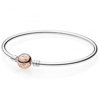 Silver Bangle with Rose Clasp