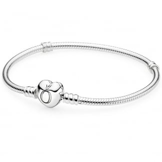 Silver Bracelet with Heart Clasp