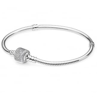 Silver Bracelet with Pavé Barrel Clasp