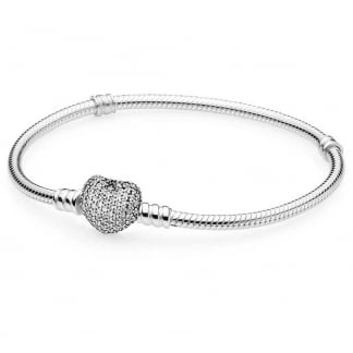 Silver Bracelet with Pavé Heart Clasp
