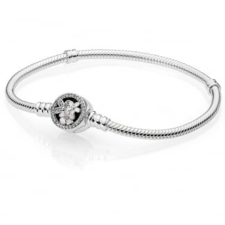 Silver Bracelet with Poetic Blooms Clasp