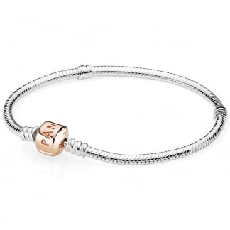 Silver Bracelet with Rose Clasp