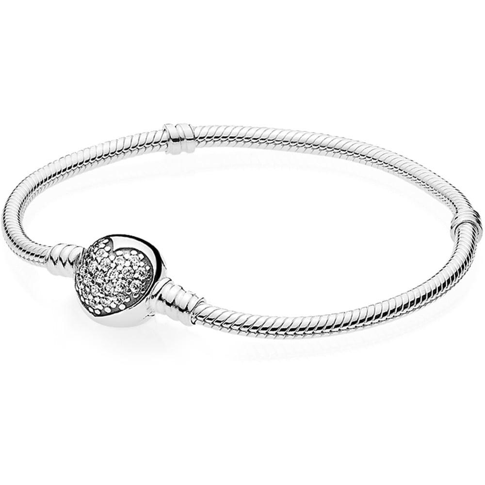 86dc85e3e Pandora Silver Bracelet with Sparkling Heart Clasp - Jewellery from ...