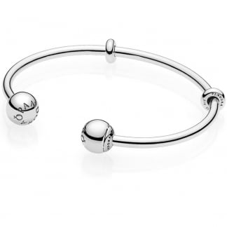 Silver Open Bangle, Logo Caps