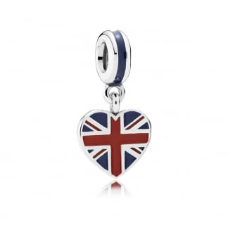 Union Jack Heart Dangly Charm