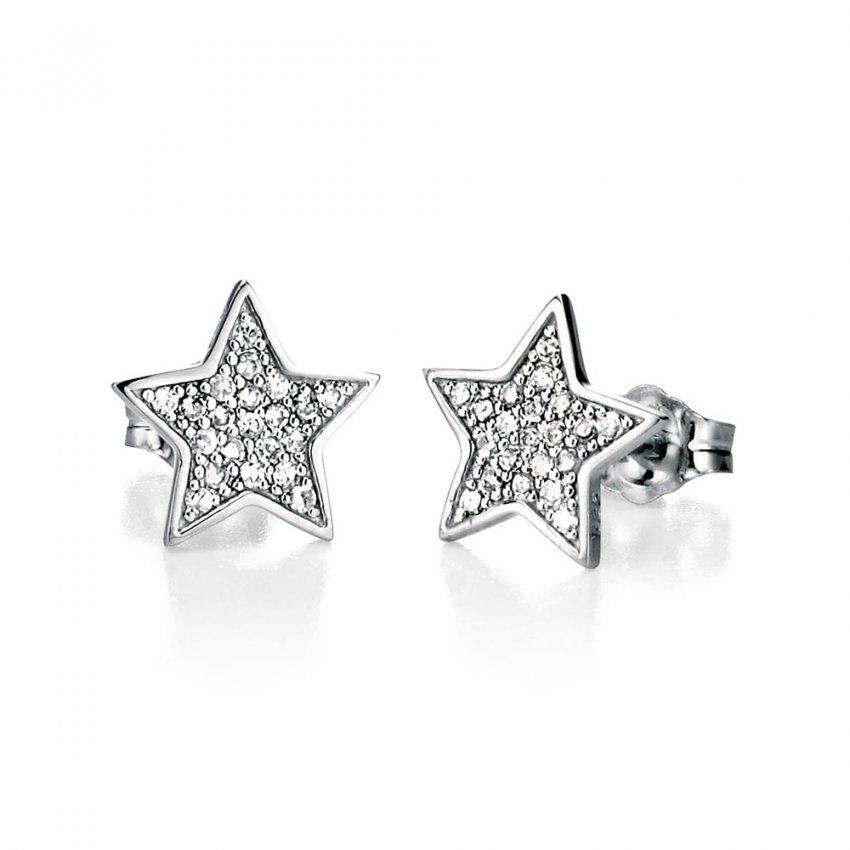 Fiorelli Pave Set Cz Silver Star Stud Earrings Jewellery