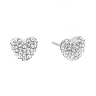 Pave Set Steel Brilliance Heart Earring Studs