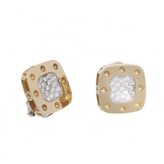 Petit Pois Moi Large Yellow Gold Square Studs