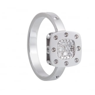 Petit Pois Moi White Gold Diamond Set Square Ring