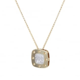 Petit Pois Moi Yellow Gold Large Square Pendant