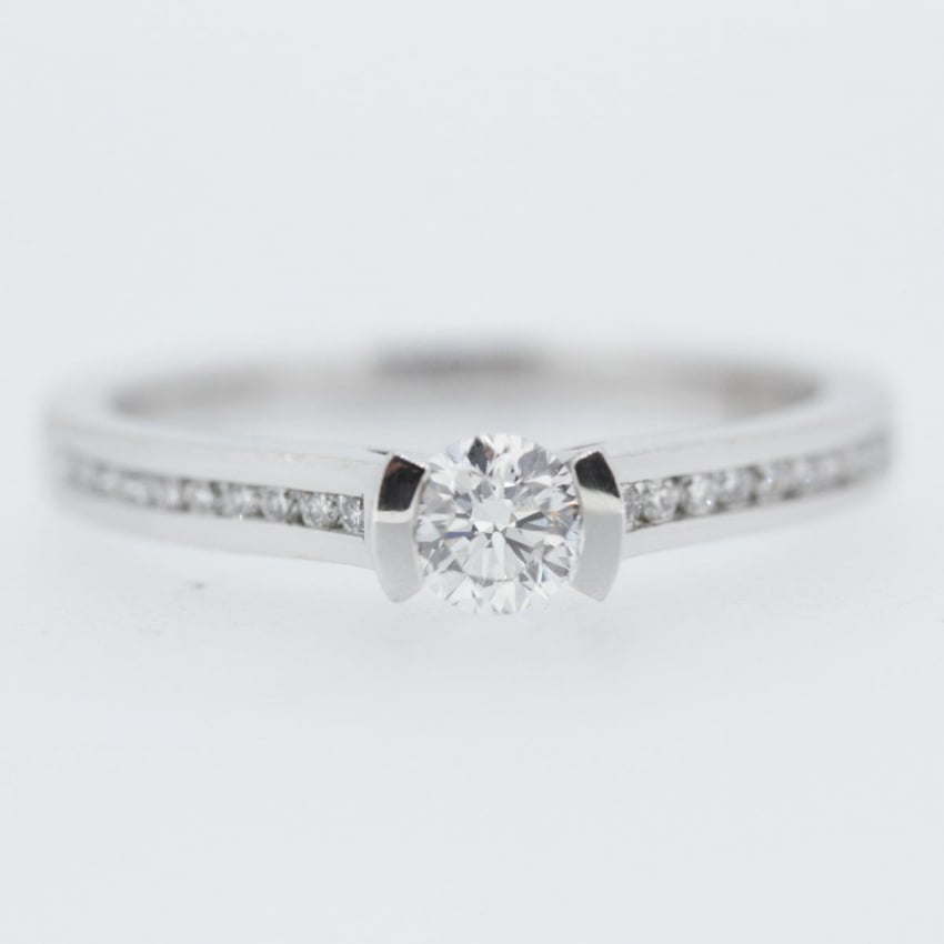 Francis & Gaye Platinum 0.40ct Solitaire with Diamond Shoulders DSR3 4.5
