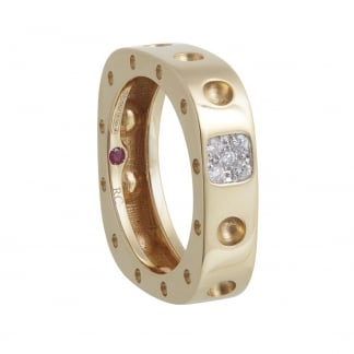Pois Moi Yellow Gold and Diamond Square Ring