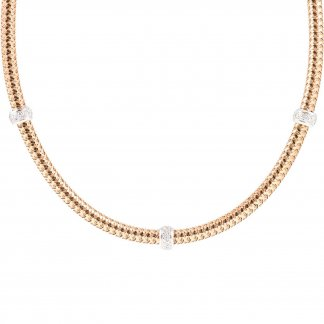 Primavera Rose Gold Mesh Diamond Necklace