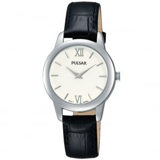 Ladies Brass and Black Leather Strap Watch PRW021X1